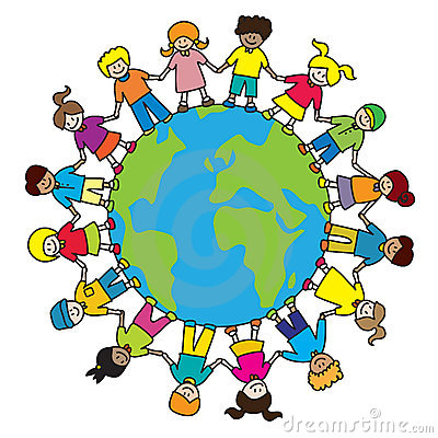 Children kids diversity holding hands around the world illustration ...