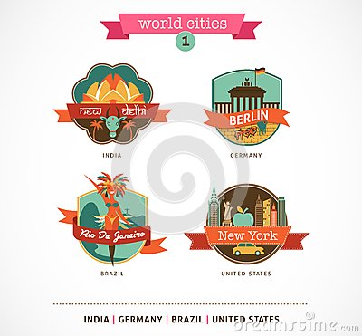 World Cities labels - Delhi, Berlin, Rio, New York