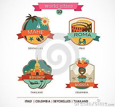 World Cities labels - Mahe, Roma, Bangkok, Bogota