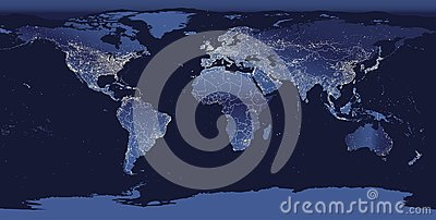 World city lights map. Night Earth view from space. Vector illustration Vector Illustration