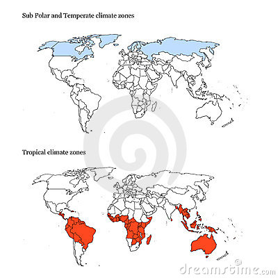 World climate zones map extremes