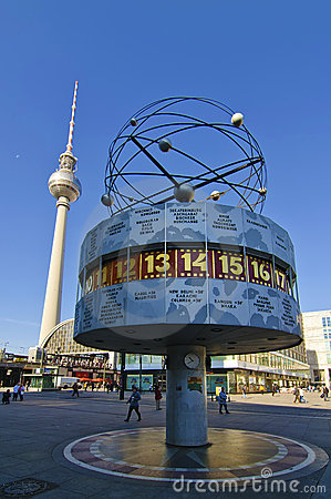 Free World Clock And Tv Tower In Berlin Stock Image - 16332911