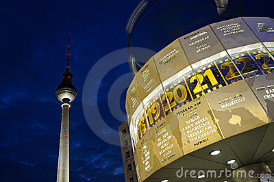 World clock with the TV tower Editorial Photo