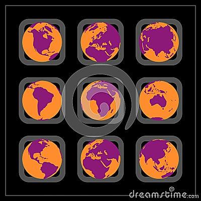 World continent buttons