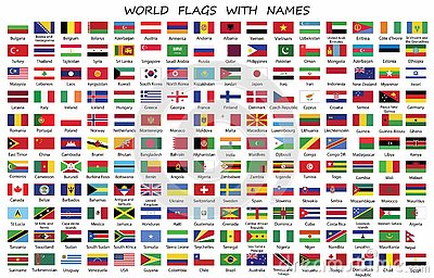 World Countries flags with names Vector Illustration