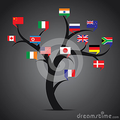 World country flag tree stock