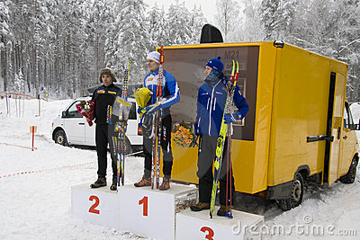 World Cup 2010 in Ski Orienteering. Podium of 1st Editorial Image