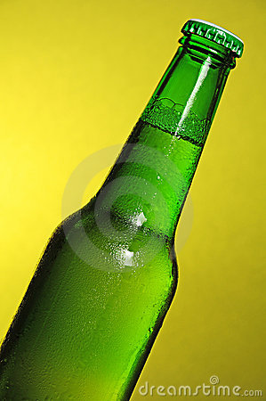 World cup football green beer bottle
