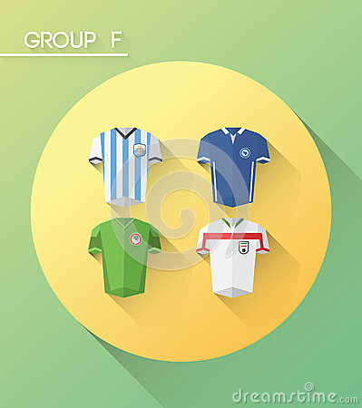 World cup group f  with jerseys Editorial Image
