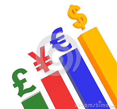 World Currency on top of podium concept graphic