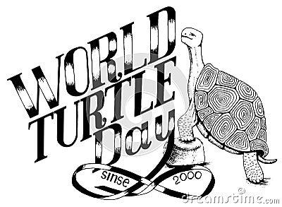 World day of turtle_enviroment protection_monochrome illustration Cartoon Illustration