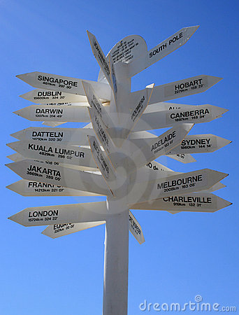 World Destination Sign Directions to Famous Places