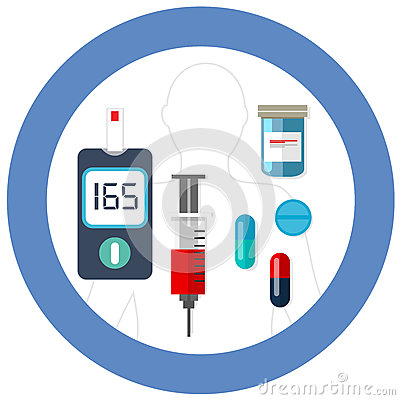 World diabetes day blue circle symbol with icon vector blood glucose test insulin drug pharmacy health care Vector Illustration