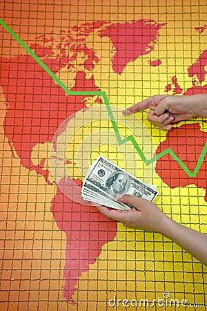 World economic crisis - money in hand
