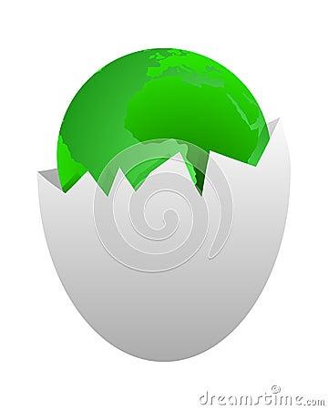 World in egg shell