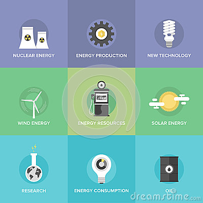 Free World Energy Resources Flat Icons Set Royalty Free Stock Photo - 46159965