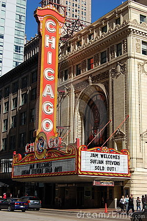 World Famous Landmark Chicago Theater Editorial Stock Image