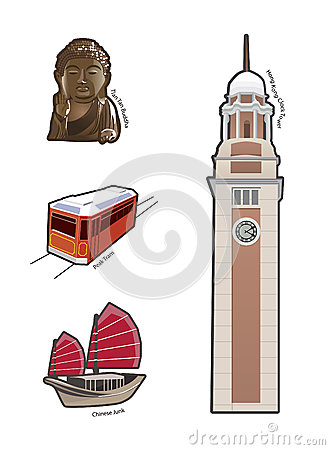 World Famous Landmarks And Icons In Hong Kong Royalty Free