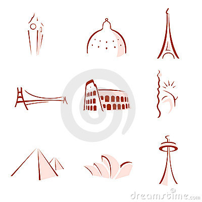 Free World Famous Monuments Stylized Stock Photo - 7045950