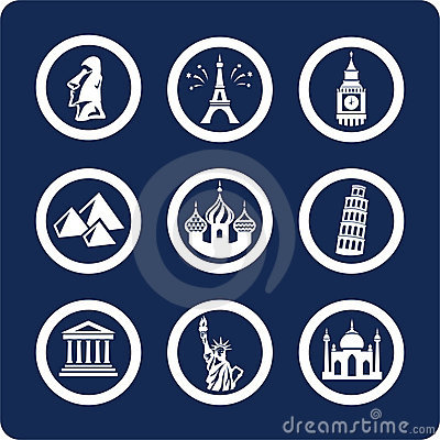 Free World Famous Places Icons (set 7, Part 1) Royalty Free Stock Photo - 401395
