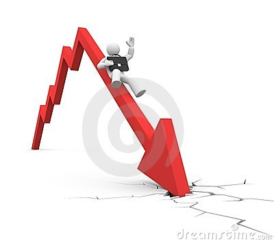 World financial crisis. Businessman falls