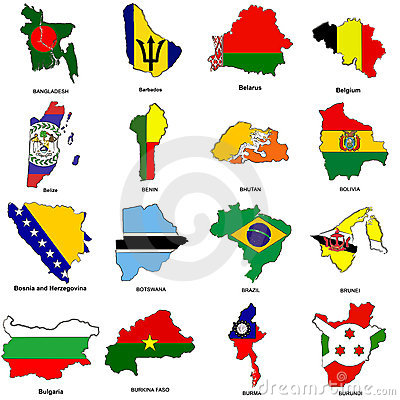 Free World Flag Map Sketches Collection 02 Stock Photos - 5656053