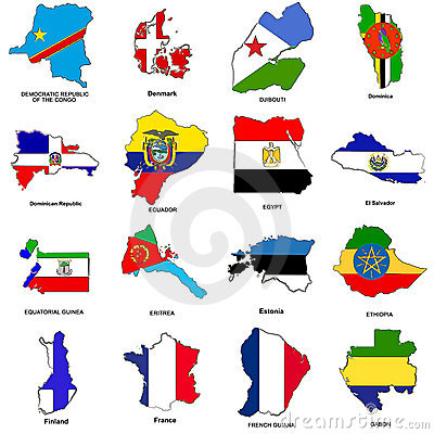 Free World Flag Map Sketches Collection 04 Stock Image - 5656161