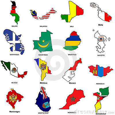 World flag map sketches collection 08