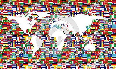 World Flag Map White