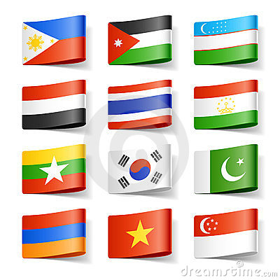 World flags. Asia.
