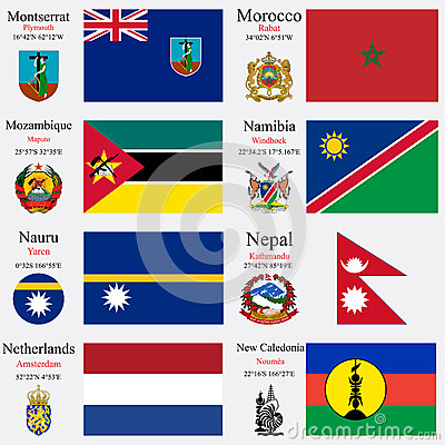 World flags and capitals set 16
