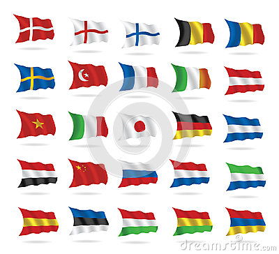 World flags collection on white