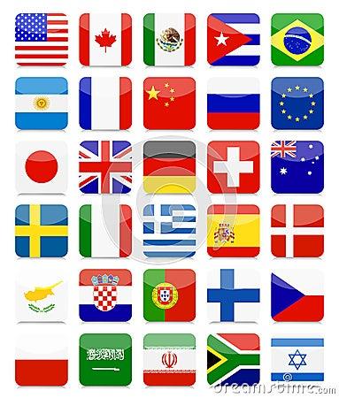 Free World Flags Flat Square Icon Set Stock Image - 65102031