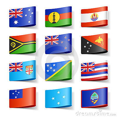 World flags. Oceania.