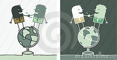 World friendship colored cartoon