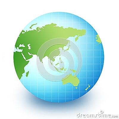 World Globe - asia and australia