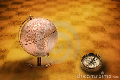 World Globe Compass Europe Africa