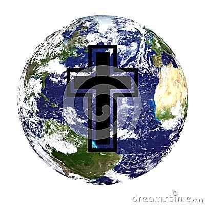 World globe and cross