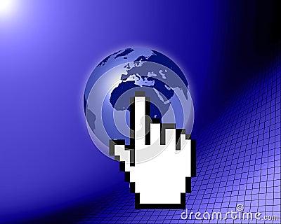 World globe with cursor