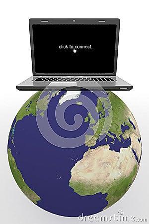 World globe,Laptop on a map