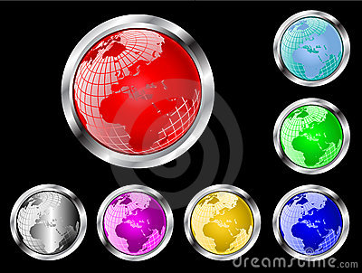 World Globe Vector Web Buttons