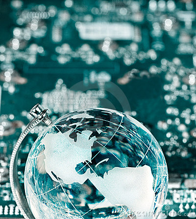 Free World Globe With Integrated Technology Elements Stock Photo - 12946850