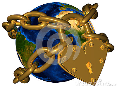 World in golden chain and golden lock