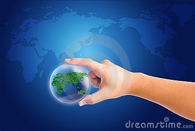 World in hand and global on blue map background
