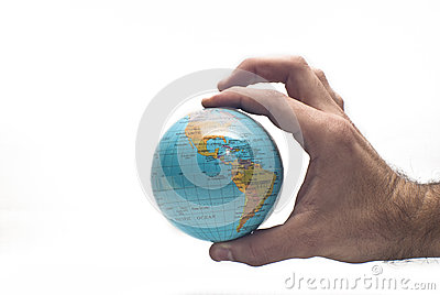 World in hand isolated