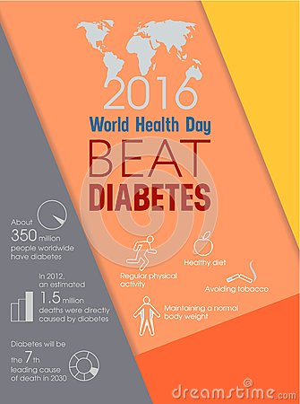 World Health Day Beat Diabetes Vector Illustration