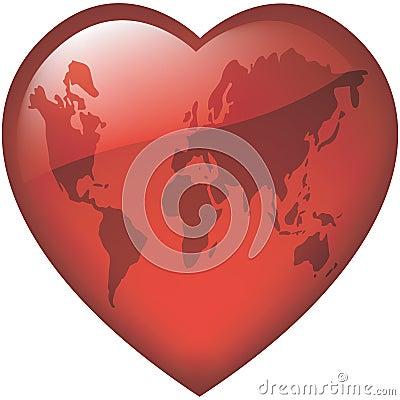 Free World Heart Glassy Royalty Free Stock Photo - 1888615