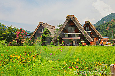 World heritage shirakawago gasshozukuri houses
