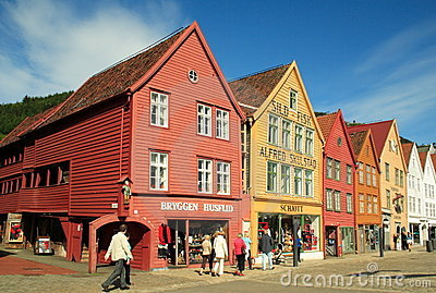 World Heritage Site, Bryggen in Bergen, Norway Editorial Photography