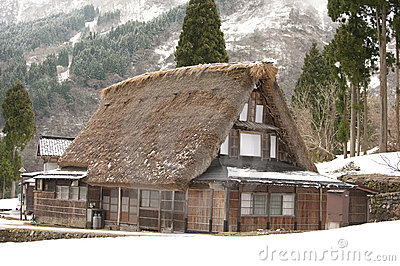 World-heritage site, thatched-roof house, Japan